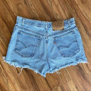 Vintage Levi's 941 Orange Tab Cutoff Denim Shorts